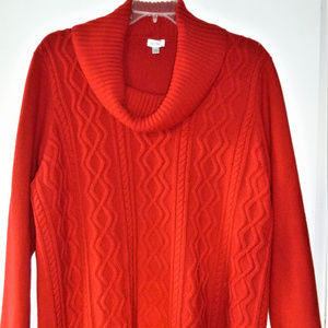 Avenue red cable knit cowl neck sweater size 26/28